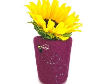 Felt Vase Felted Pencil Pot Magenta Pink Home Decor Knitted Cylinder Housewarming Hostess Gift Unbreakable Soft Kids Nursery