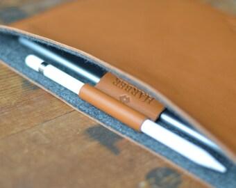 "iPad Pro 10.5"", 12.9"" & 9.7"" - EVO Collection, Apple Pencil Holder + Smart Keyboard Leather And Wool Felt Sleeve Case Handmade"