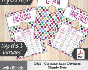 Dot Dot Smile Clothing Rack Dividers, Size Chart, Style Cards, Fashion Consultant, Simply Dots Design, Direct Sales, INSTANT DOWNLOAD