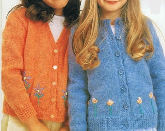 Girls Cardigan Knitting Pattern - PDF Download sizes 2 - 10 years.  Double knit yarn, embroidery detail.  Rating - Easy