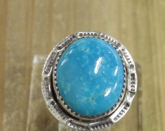 Vintage Sterling Silver Turquoise Ring Size 11.25