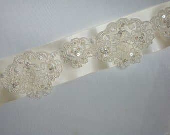 "Lace pearl 36"" ivory bridal belt sash, wedding dress belt, bridal sash, bridal dress belt, party dress belt, beaded belt, sequin belt, sash"