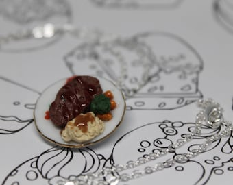 Dinner Time Classic Meatloaf with Mash Potatoes and Veggies/ Polymer Clay Miniature Dinner/ Savory Jewelry