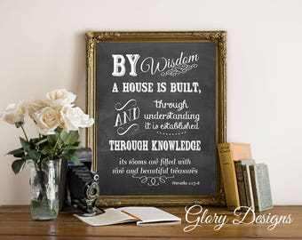 Printable, By wisdom a house is built printable, Bible Verse, Scripture printable, Scripture art, Proverbs 24: 3-6 print, Printable Proverbs