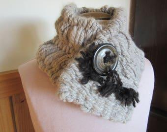 Alpaca OOAK Handwoven Scarf/Neckwarmer made from Handspun Yarn