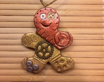 Gingerbread Man Steampunk Christmas Ornament -  Holiday Decor Ready to Ship Polymer Clay style 11