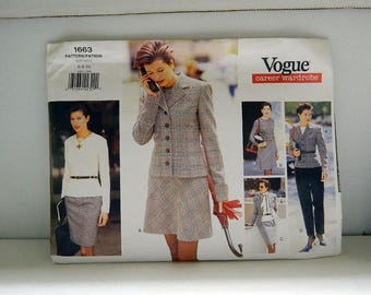 Vogue Pattern 1663 - Vintage Career Wardrobe Pattern - Uncut