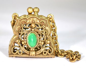 Vintage Chatelaine Purse- Miniature Brass Filigree Purse with Chain Strap and Jade Green Artificial Gem, Locket Charm, Aromatherapy Diffuser
