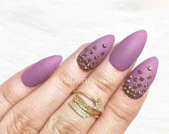 Set if 3d Rhinestones Purple Matte Stiletto Press on Nails