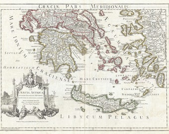 Southern Ancient Greece Greek Isles & Crete Antique Map 1794