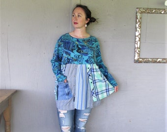 recycled clothing up cycled tunic spring dress upcycled tshirt 2 X Wearable Art plus size dress turquoise tunic Bohemian LillieNoraDryGoods