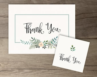 Woodsy Floral Printable Thank You Cards and Tags • Leafy Wreath • printable