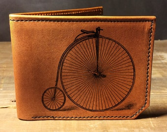 leather wallet - mens wallet - penny farthing wallet- 003