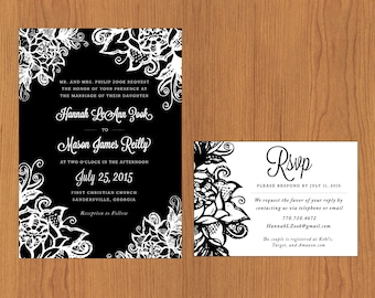 Floral Outline // Printable, DIY Wedding, Wedding Invitation, Custom Invitation