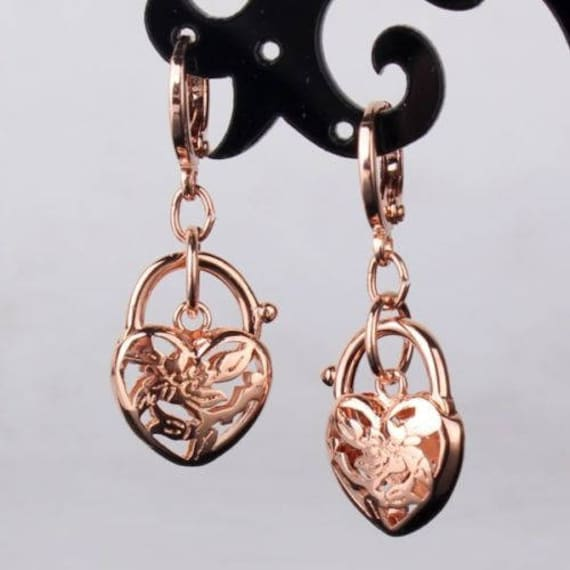 Beautiful 18 rose gold filled heart locket earrings for pierced ears