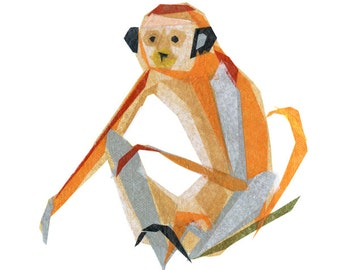 Charlie Monkey - Monkey Art Print, Monkey Decor, Animal Art Print