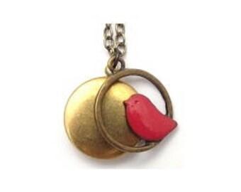 """Red Bird Locket 20"""" Antiqued Brass Chain"""