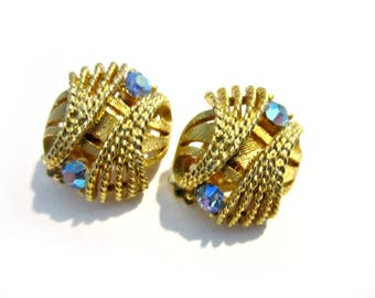 Vintage Rhinestone Gold Clip Earrings Twisted Rope Aurora Borealis Gold Earrings Wedding Jewelry Gift for Her Under 20