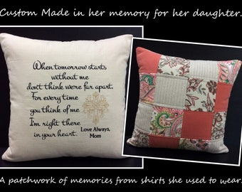 Memory Pillow, Shirt Pillow,Sympathy Gift, Embroidered Handwriting Pillow, In Memory of Dad, In Memory of Mom, Memorial Gift, 18x18 & Insert