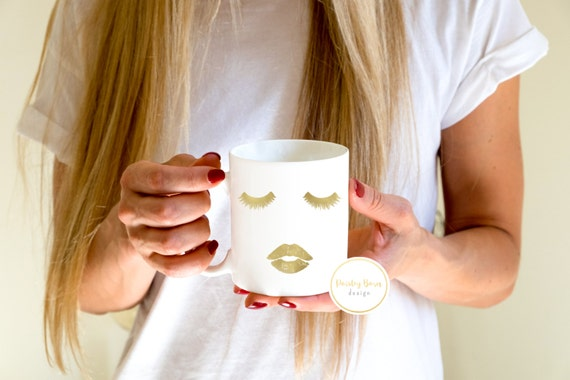 Real Foil Lashes and Lips Mug | GOLD or SILVER Foil  | coffee gift sister best friend business partner R+F
