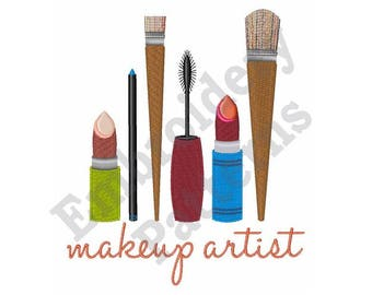 Makeup Artist Tools - Machine Embroidery Design, 5X7 Hoop, Makeup Brushes, Lipstick, Mascara, Eye Pencil