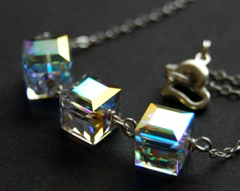 AB Crystal Cube Necklace, Clear Aurora Borealis Swarovski Crystal Cubes, Bridal Necklace, Triple Cube Necklace, Sterling Silver Wire Wrapped