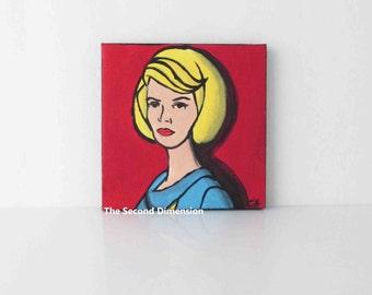 Mini Star Trek Nurse Chapel Cartoon Pop Art Sci Fi Art Painting - 4 x 4 Inches
