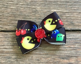 Pacman Dog or Infant Hair Bow-Pac Man Hair Bow-Pac Man Baby Bow-Small Pac Man Hair Bow-Pac Man Dog Bow-I Love the 80s Pac Man Bow-80s Bow
