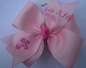 John 3.16 Hair Bows Monogrammed Pink Easter Gift Monogram Large Huge Hairbow Girls Basket Jesus Personalized boutique Custom clip