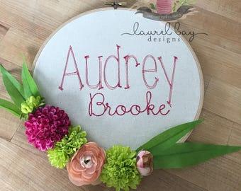 Custom Embroidered Floral Hoop