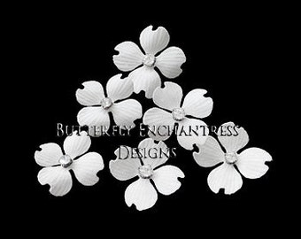 White Hair Flowers, Bridal Bridesmaid Accessories, Hairpiece, Beach Wedding Gift - 6 White Hazel Dogwood Flower Hair Pins - Rhinestone