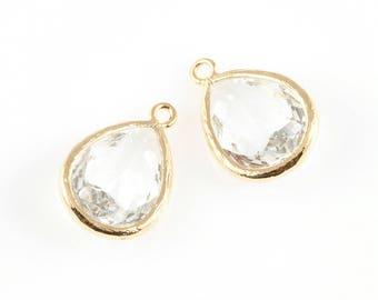 2pcs Clear Teardrop Glass Charm in Gold, Framed Drop Glass Gem / Birthstone / April / Crystal / 11.5mm x 17mm / GCLG-005-P