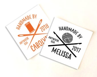 Fold-over or Flat Fabric Labels Hipster Style — Custom Clip Art — 100% Cotton Colorfast Washable  — Uncut