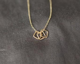 Tiny Gold Necklace, Thin Gold Necklace, Tiny Squares Necklace, Three squares, Tiny Silver Necklace, Sterling Silver, Dainty Necklace