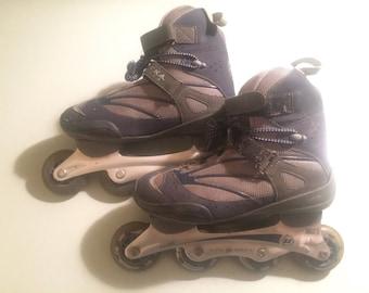 Ultra Wheels Retro Rollerblades Skates Blue Gray Black Women's Size 10