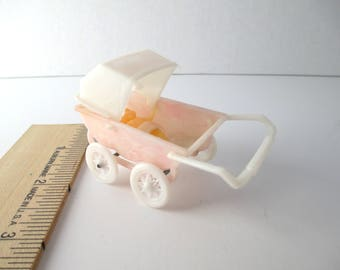Tiny Vintage Baby Carriage with Baby