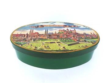 Vintage Candy Tin Nurnberg Germany Scene, Vintage Tin Box, Antique Tin, Collectible