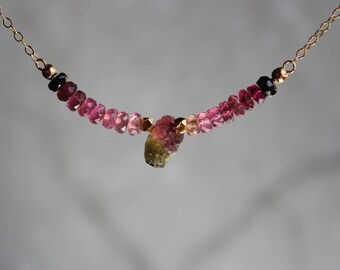 Watermelon Tourmaline Necklace, Tourmaline Necklace, Gemstone Bar Necklace, Tourmaline Choker, October Birthstone, Pink Tourma