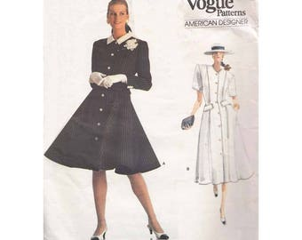 80s Fit and Flared Front Button Dress Vintage Vogue Sewing Pattern 2016 Oscar De La Renta Size 12-14-16 Bust 34-36-38