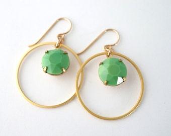 Vintage Green Earrings, Gold Hoop Earrings, Green Hoop Earrings, Olive Green Earrings, Everyday Earrings