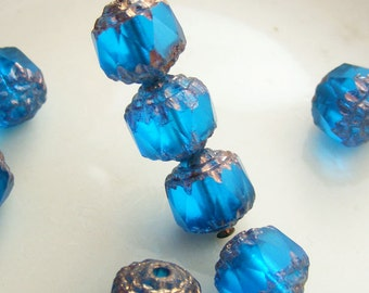 Czech Glass Cathedral Beads 8mm Fire Polish Matte Aqua with Gold (Qty 8) SRB-8FPC-A-GM