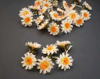 6 DAISIES  Handmade  needle lace flower