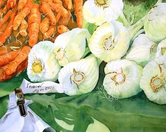 Orange painting Vegetable Art Print Green painting Kitchen artwork Food still life Harvest market watercolor painting vegetable art