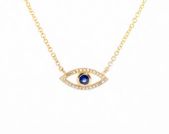 14K Gold Evil Eye Necklace Diamond and Sapphire-Cute-Dainty-Spiritual-Birthday gift-Anniversary