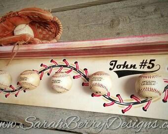 Baseball Hat Rack - Made with REAL balls- Softball - Coach's Gift- Boys room - kids room - MLB - Front Door Wreath- Nursery