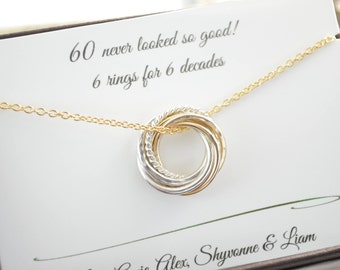 60th Birthday gift for mom, 6 Mixed metals rings, 6th Anniversary gift, Petite necklace, Gold rings, 60th Birthday gift for women