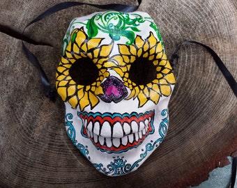 Papier-mâché Skull Mask with Sunflower Eyes
