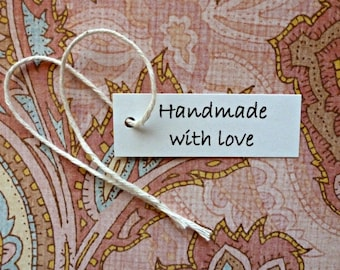 100 Handmade with Love tags mini tags hang tags gift tags price tags simple jewelry tags product tag shop supplies merchandise tag white tag