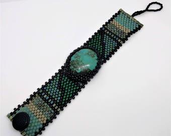 Bijoux - tissage Peyote sous forme libre perles Bracelet manchette - tissage - Bleu Turquoise - BOHO