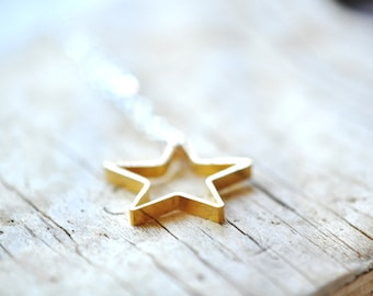 Star Necklace  - Simple Star Necklace - Star Jewelry -  Brass Star Pendant - Gift For Women
